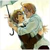 kylara: US enthusiastically glomping a startled UK under an umbrella ([Hetalia] USxUK rain jump)