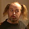 xenacryst: Manny, from Black Books, with pig tails in a drinking bout (ORLY?  YARLY.)
