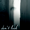 "hokuton_punch: Screenshot of a young light-haired girl looking through a partially open door, captioned ""don't look."" (comedy girl look)"