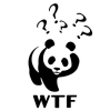 mithriltabby: Imitation of the World Wildife Fund panda with question marks and caption W T F (WTF Panda)