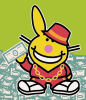 mithriltabby: Blinged-out Happy Bunny with fat stacks of cash (Cash)