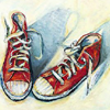 shoes: drawn pic of red converse, worn and comfy (worn and comfy, drawn pic of red converse)