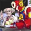 metallicsoul: Metal Man serving food to Dr. Wily (dutiful)