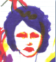 yams: drawing in ink of a woman's face, her face is outlined in red and yellow ink, her hair is blue and cropped short. (face, woman, retro)
