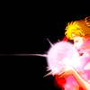 mireia: Sailor Moon against a black background, holding her Silver Crystal in front of her with her uniform ribbons flowing. (Sailor Moon - Silver Crystal)