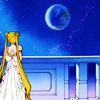 mireia: Princess Serenity from Sailor Moon gazing out at the night sky from her balcony. (Licking kitty! <3)