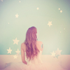 fascination: A woman surrounded by stars, like the word 'fascination' itself. (Fascination!)