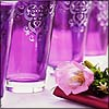 distractionary: purple glass cups with flower (in case you didn't realize while)