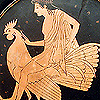 sineala: Greek red-figure painting of a Greek youth riding a rooster (youth riding a cock)