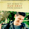"rhi: Methos smiling, sword over shoulder. ""Not afraid to run away from danger."" (Methos run away)"