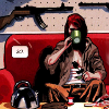 mortalcity: Natasha Romanova: bandaged, drinking tea, sitting in front of a wall of guns. (Marvel | so.)
