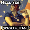 """hokuton_punch: A 40s-era picture of a muscular woman, captioned """"Hell yes, I wrote that!"""" (fireriven writing pride)"""