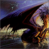 distractionary: giant dragon on a highway overpass with a lightning storm filling the sky (son of twilight lord of shadows)