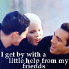 """rhi: Methos, Amanda, and Duncan, escaping the bomb blast.  """"I get by with a little help from my friends."""" (help from my friends)"""