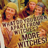 "gnatkip: Monty Python and the Holy Grail, ""What do you burn apart from witches?  MORE WITCHES!"" (witches)"