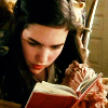ashenmote: Sarah from Labyrinth reading a book (D!Cat Blue Feather)