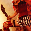 ccarlet: photo of capt maggot, cut off from the neck down, in her striped bloopers and red corset with her scimitar drawn ([ea] captain maggot)