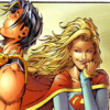 powerboy: Powerboy using Super-breath to suck air into his lungs, as Supergirl watches on amused. (Entertaining)