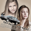 alexseanchai: Claire and Emma with a black 2006 Impala, captioned 'two halves are equal' (Emma/Claire Impala two halves are equal)