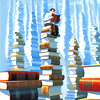 kindkit: Man sitting on top of a huge tower of books, reading. (Fandomless--book tower)