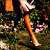 owl: woman's lower leg with high-heeled shoe, walking in a garden (shoes)