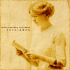 kyriacarlisle: late 19th cen. woman, in profile, holding a scroll; text 'forbidden'; my library icon (reading)