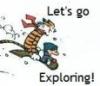 slavecek: Calvin&Hobbes sledding (calvin, explore, hobbes, sled)