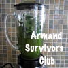 "cloudsinvenice: text: ""Armand Survivors Club"" over a blender full of unappetising green goop (Armand Survivors Club: green goo)"