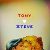 """cadenzamuse: a manip of Steve Rogers (Captain America) kissing Tony Stark (Iron Man) with words """"Tony heart Steve"""" (Steve/Tony)"""