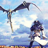 fallen_stage: Kuja standing in the wind, facing down Bahamut (Default)