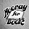 "strina: text mostly ""hooray for books"" overlaid on cartoon of open book (txt - hooray)"