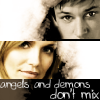 andothersuchphrases: Pagiel (Kristin Chenoweth) and Mathias (Gaspard Ulliel) from Descantverse (Demons and angels don't mix)