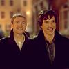 luthe: Sherlock and John walking down the street side-by-side, smiling (sherlock: john & sherlock)