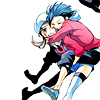 ducttaped: Ethan from Pokemon jumping on Lyra's back and looking happy about it (let's be best friends)