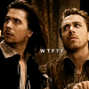 ginainthekingsroad: Gary & Tim as Rosencrantz & Guildenstern.  Text: WTF?! (RAGAD- WTF)