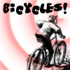 "bicycles: Cyclist on a red clockwise spiral background, text reads ""Bicycles!"" (bicycles!) (Default)"