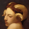 celtic_maenad: Oil painting of girl's shoulders & head. The girl has ram's horns and red hair, pulled back. (Default)