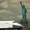 keiji_miashin: Spaceshuttle Enterprise passing by the Statue of Liberty, Hudson River, New York (Space Freedom)