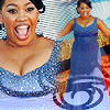 lomedet: chandra wilson in a blue dress, smiling and beautiful. (gorgeous bailey)