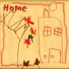 "klgaffney: a child's drawing of a house featuring text reading ""home"" (home prattle)"