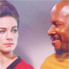 "ginainthekingsroad: Jadzia & Sisko in TOS uniforms- ""Trials and Tribbleations"" (DS9- Kickin' it Old School)"
