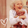 trouble: Rose from Golden Girls clutching her teddy bear with a heart drawn next to it (rose from gg)