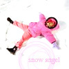 trouble: girl in pink snow suit making a snow angel (winter)