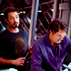 thingswithwings: Tony is about to poke Bruce, Bruce is unaware of what's to come (avengers - tony just about to poke bruce)
