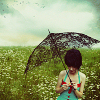 the_coffee_shop: A young girl standing in a field of flowers, holding an umbrella. (daisy)