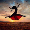 the_coffee_shop: The silhouette of a girl leaping gracefully through the sky. (kebi)