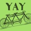 sara: YAY written over a tandem bike (yay tandem)