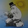 ossamenta: Moominpappa sitting on a rock in the sea, writing on his typewriter (Muminpappa skriver)