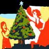 tablesaw: Two women put the star on a Christmas tree. (Apocalyptic Christmas)