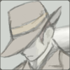 szzzt: Ashley wears his fedora brim low, his mouth hard beneath it. (made man ashley)